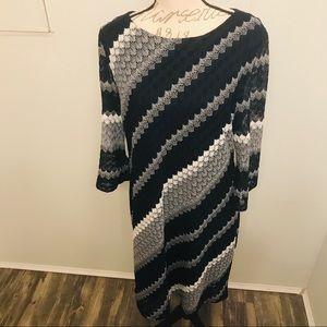 Studio One Abstract Print Dress Long Sleeve Dress